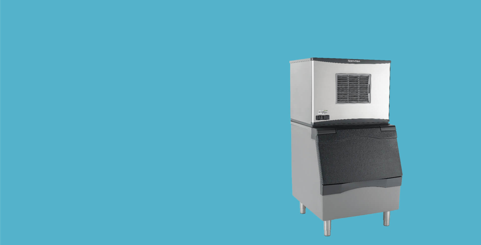 optimum commercial ice machine on blue bg