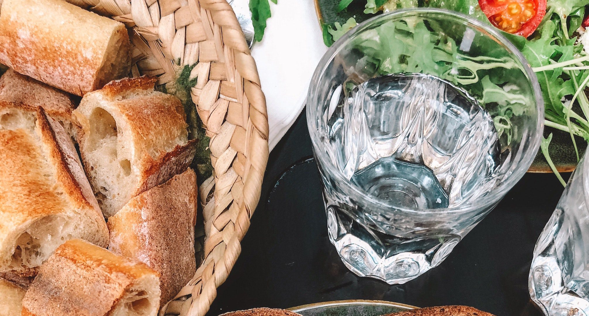 Water glass and bread