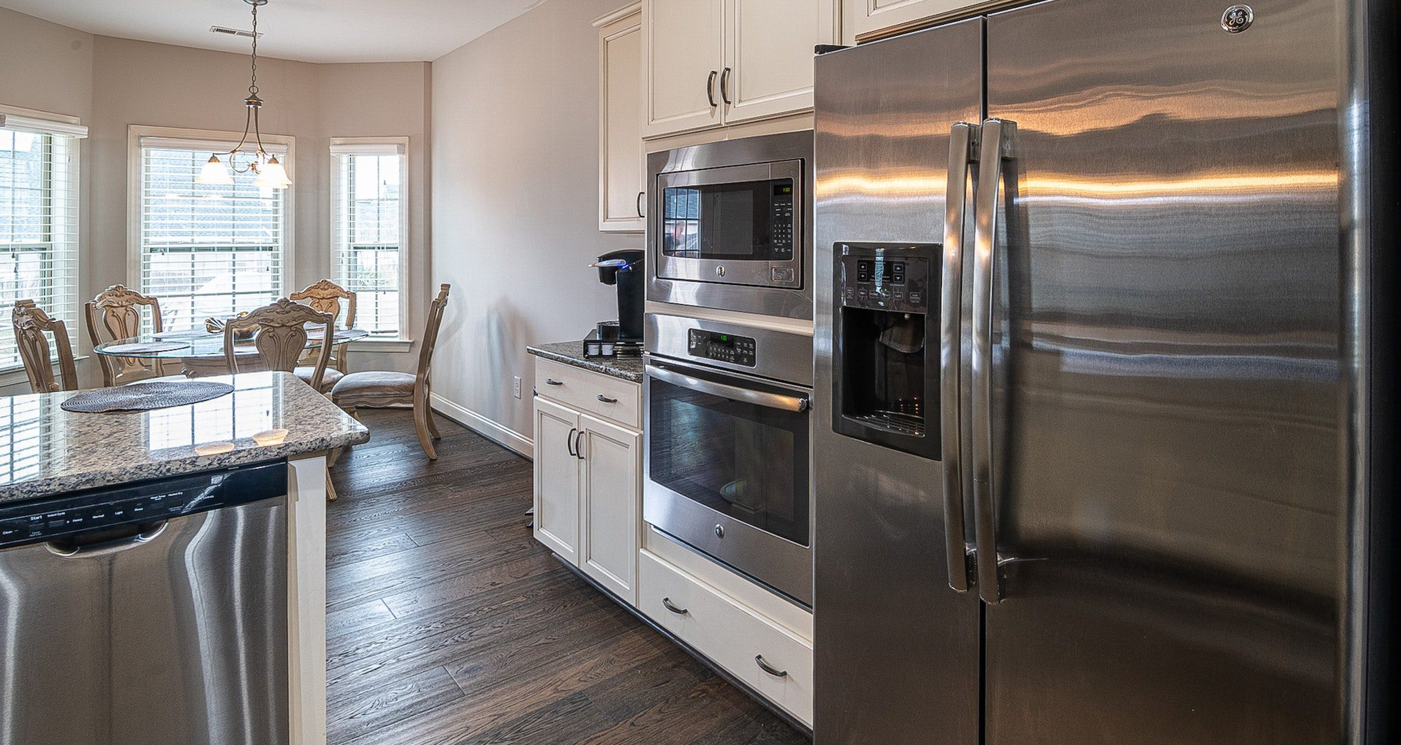 refrigerator and double ovens