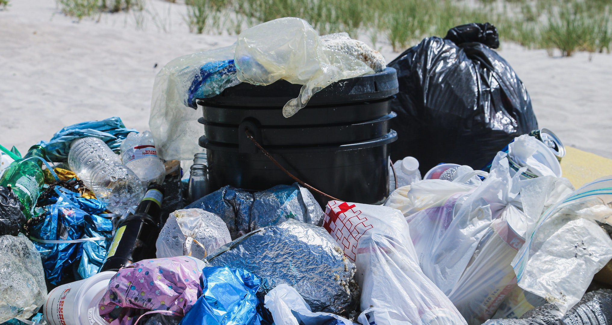 plastic pollution collected on a beach